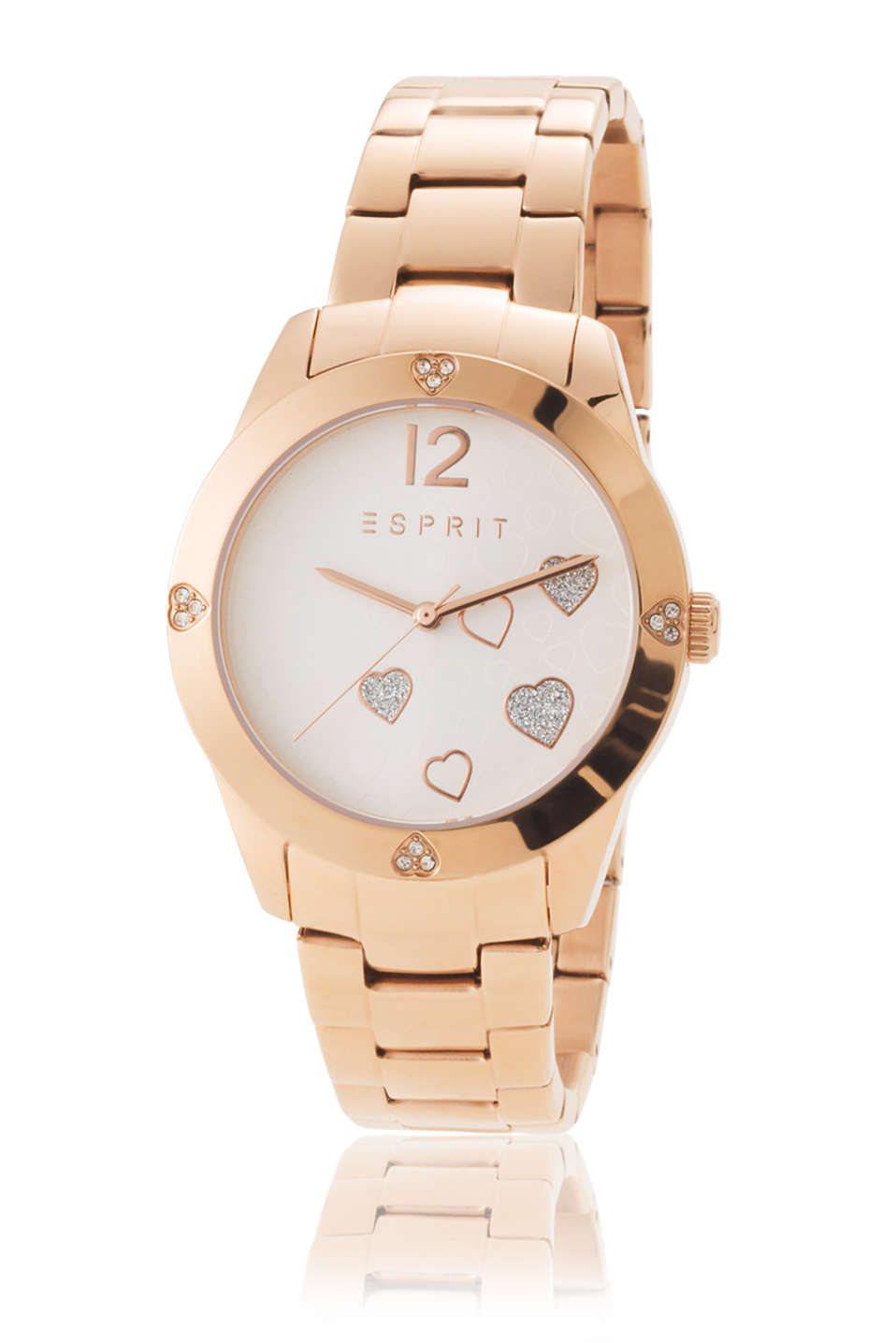 Watch with red gold hearts, stainless-steel casing and strap, zirconia trim plus heart detail plaited bracelet, Ø approx. 36 mm