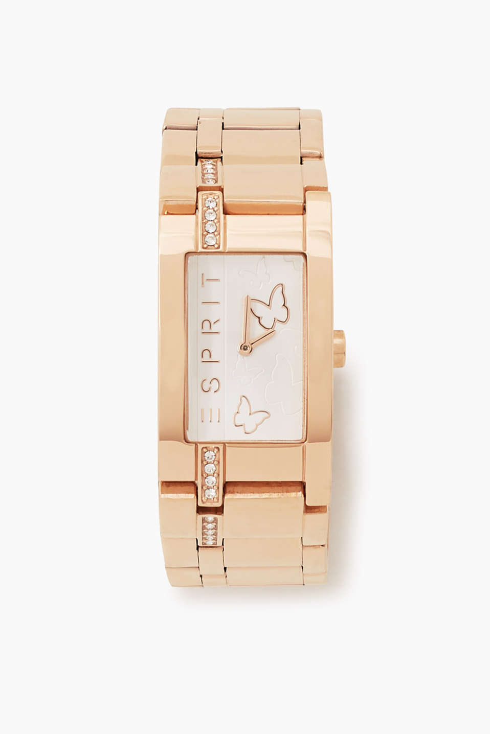 An ESPRIT classic in trendy pink gold: bracelet watch with a square casing