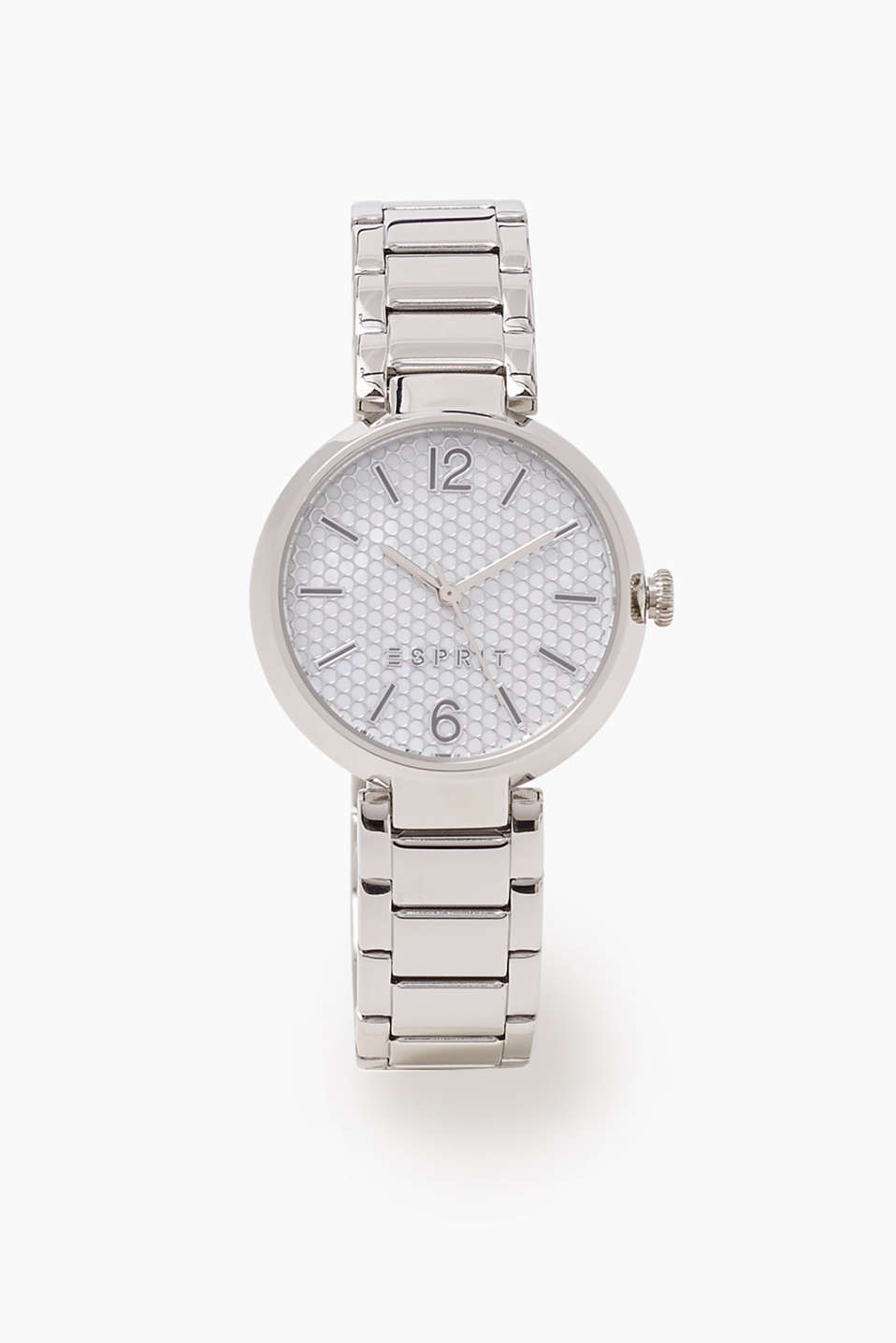 Silver tone wrist watch with a dial in a striking, reflective scale look