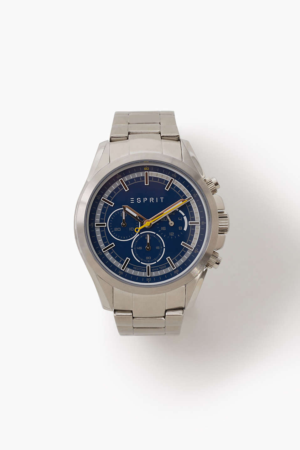 Chrono with stainless-steel casing and link bracelet, stopwatch function, 24 hour hand, Ø approx. 44 mm
