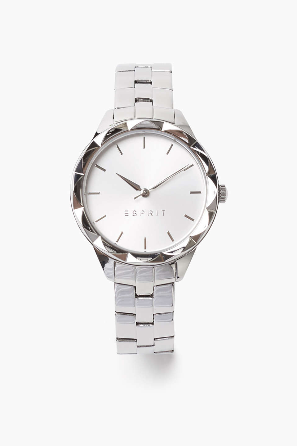 Polished stainless steel watch with a stud-cut bezel, Ø approx. 33 mm