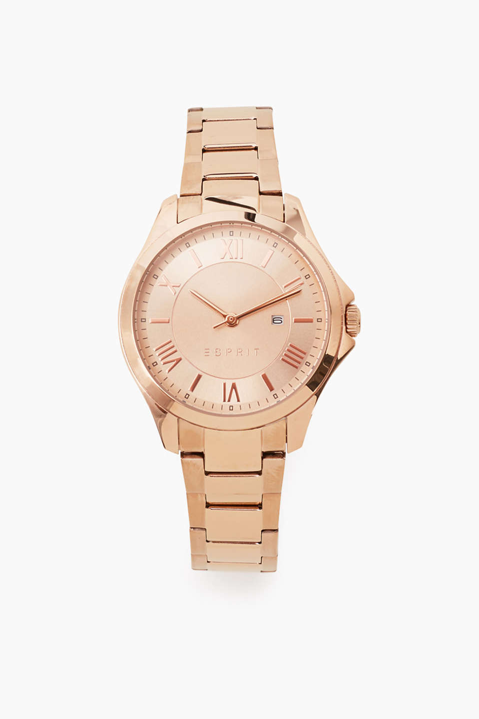 Distinctive Roman numerals: watch with stainless steel casing and strap in a rose gold tone, date, Ø approx. 35 mm