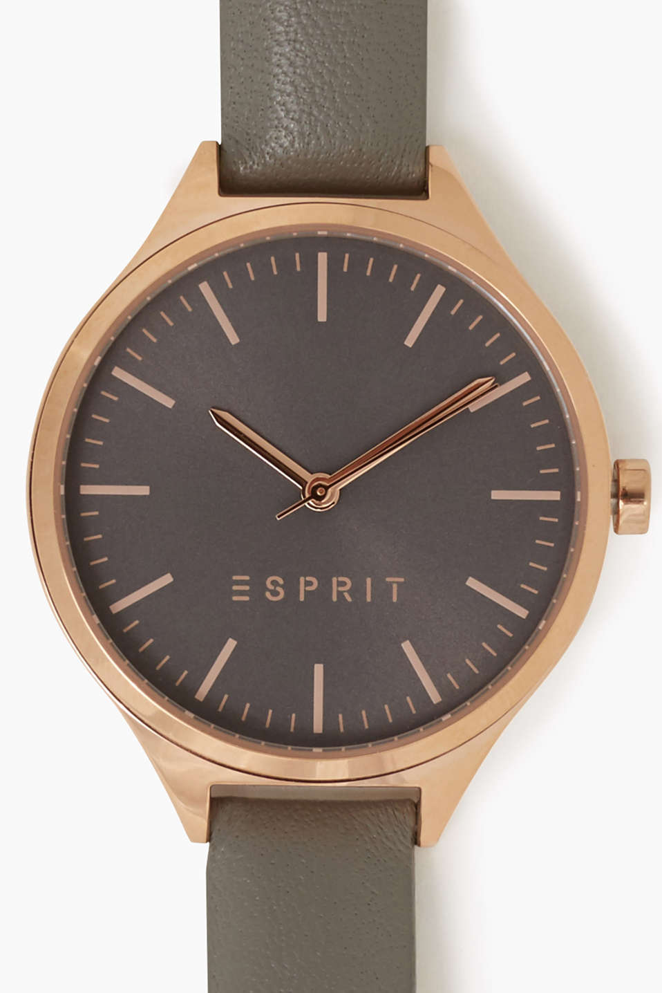 Polished stainless steel watch in a rose gold shade with a narrow leather strap, Ø approx. 34 mm