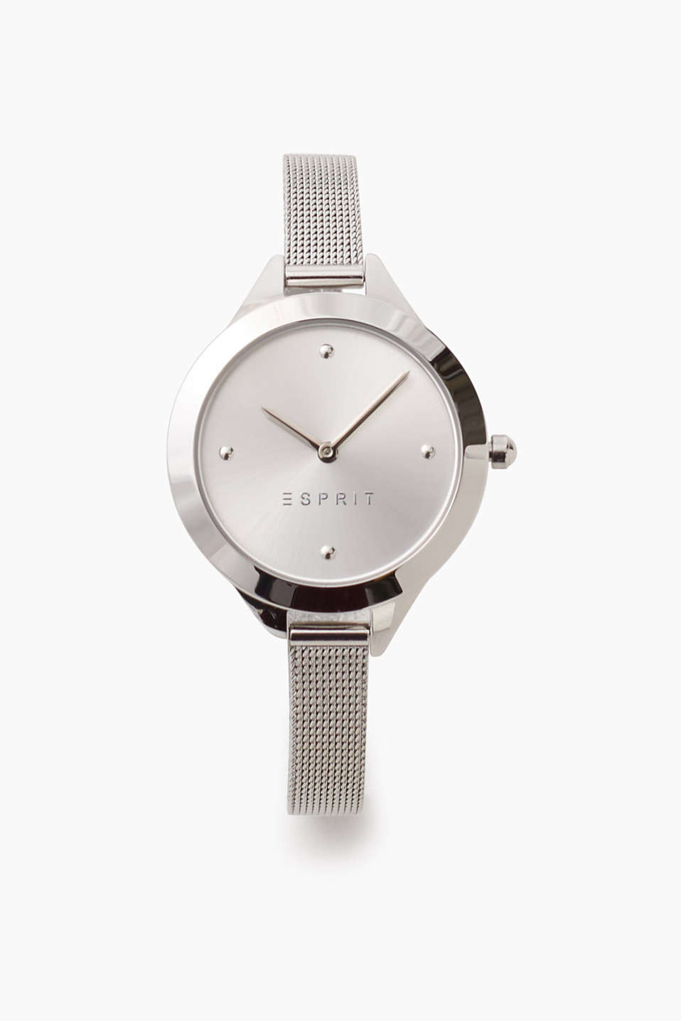 Simple watch with polished stainless steel casing and a narrow Milanese strap, Ø approx. 33 mm
