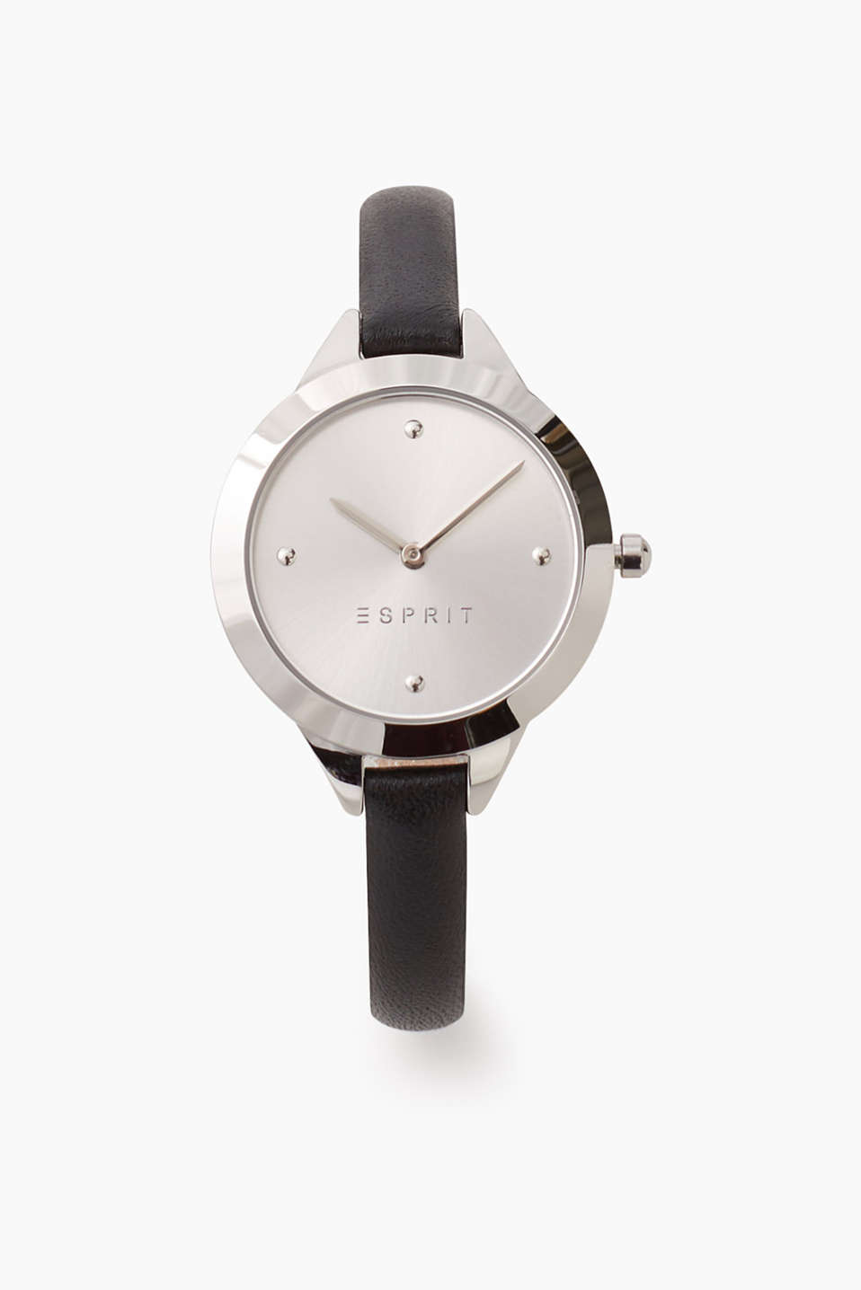 Simple watch with polished stainless steel casing and a narrow black leather strap, Ø approx. 33 mm