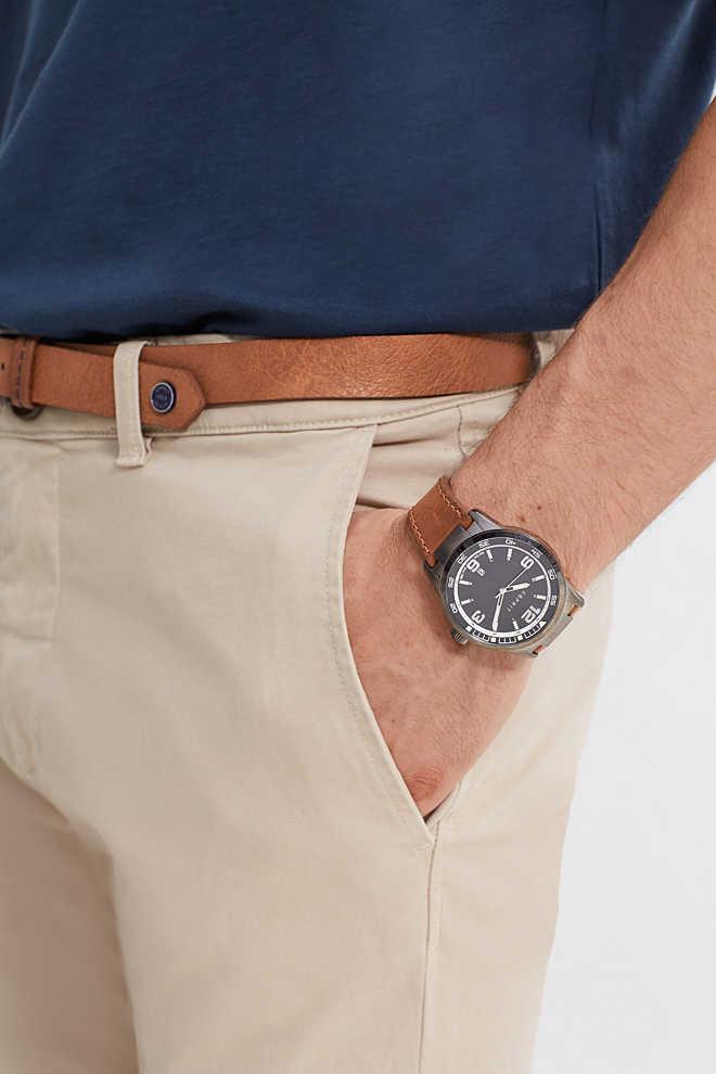 esprit herren uhr mit leder armband im online shop kaufen. Black Bedroom Furniture Sets. Home Design Ideas