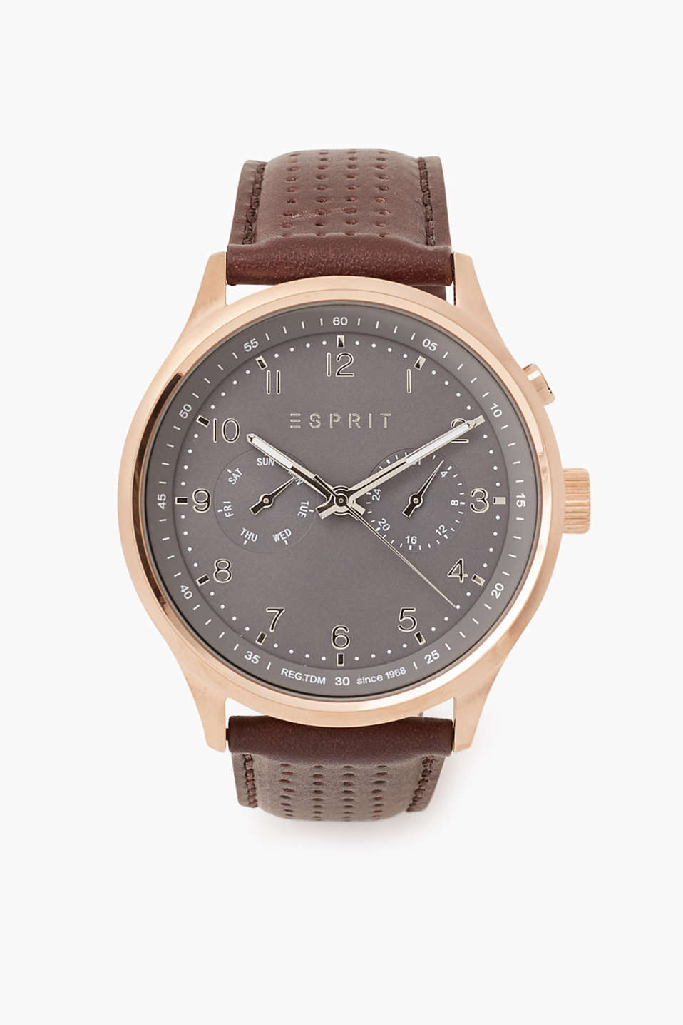 Chronograph with a stainless-steel casing, date display, stopwatch function and perforated leather strap