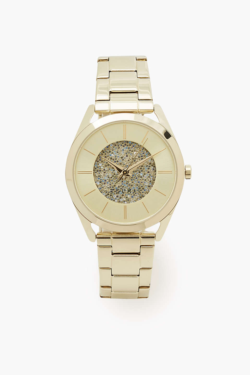 Elegant and feminine watch with a link strap and a clip clasp as well as a glittery dial