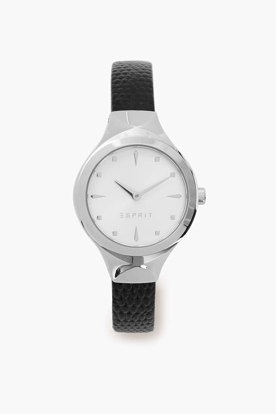 Watch with a narrow leather strap with a relief watch case
