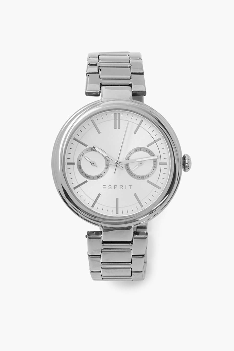 Polished stainless-steel casing and strap, date display featuring day and numerical date, Ø approx. 36 mm
