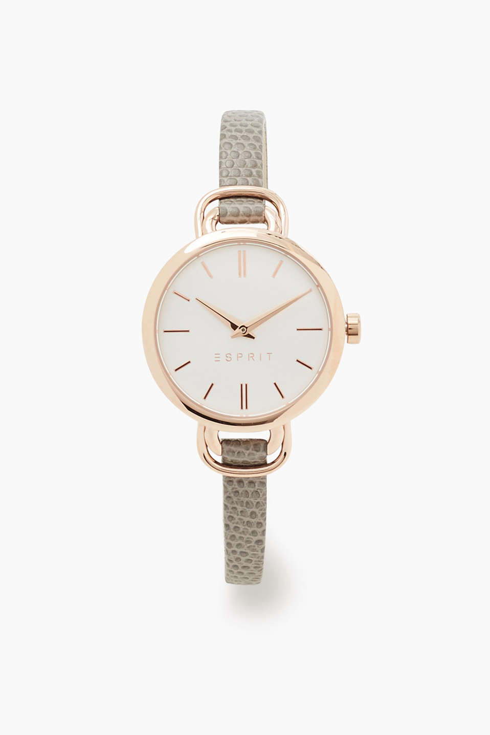 In a timeless look: watch with an embossed leather strap