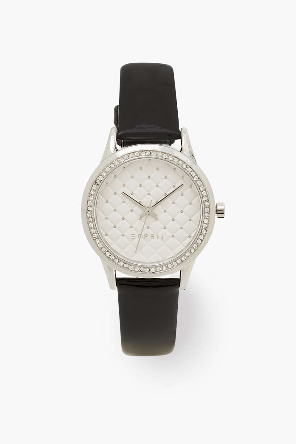 Elegant, shimmery stainless steel watch with a striking dial and a zirconia-trimmed bezel