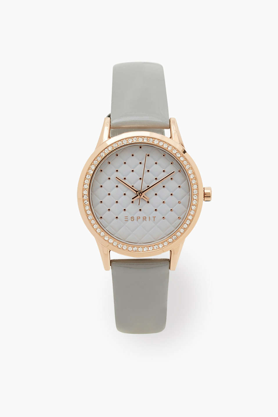 Stunning, trendy stainless steel watch in a rose gold shade with a striking dial and a zirconia-trimmed bezel