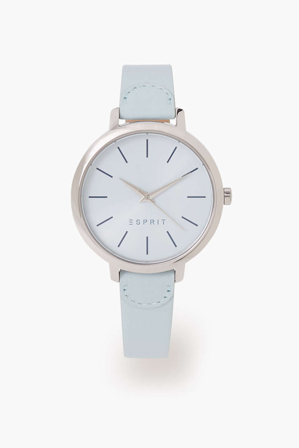 In a minimalist design: watch with a silver-coloured, stainless-steel casing