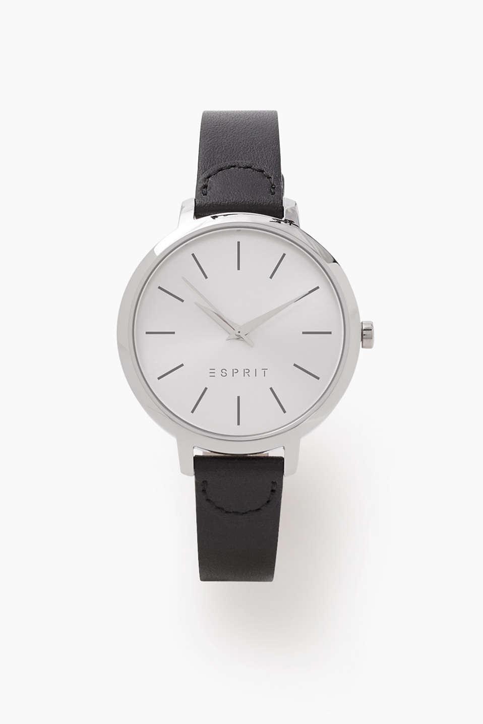 esprit minimalistische uhr mit leder armband im online shop kaufen. Black Bedroom Furniture Sets. Home Design Ideas