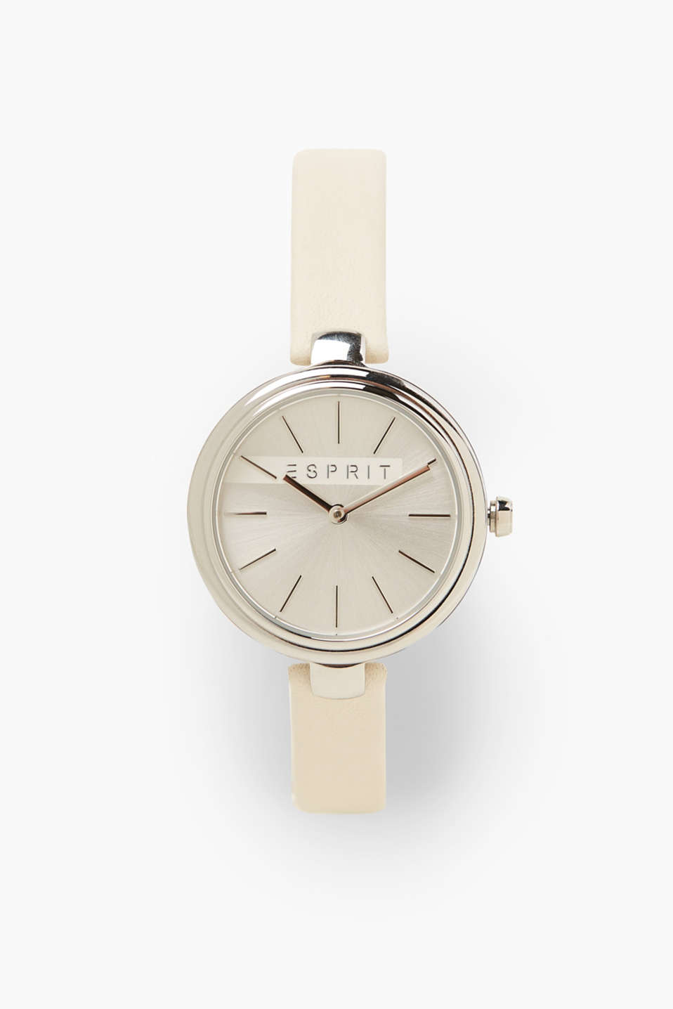 Elegant and minimalistic. This watch features a narrow leather strap and timeless stainless steel casing.