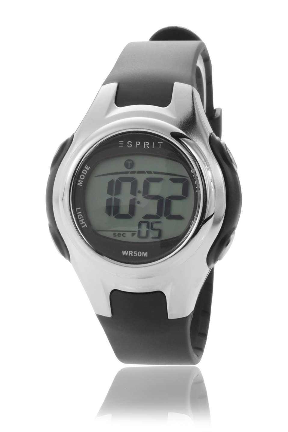 Black digital watch with an alarm, stopwatch, 12/24-hour display and a light, Ø approx. 35 mm