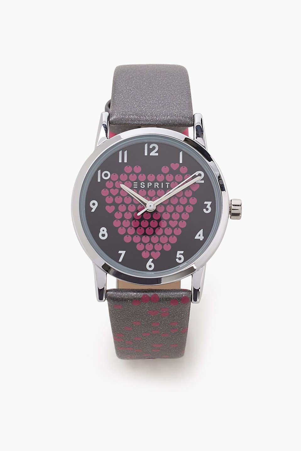 Girls just love pink! Kids watch with a heart design