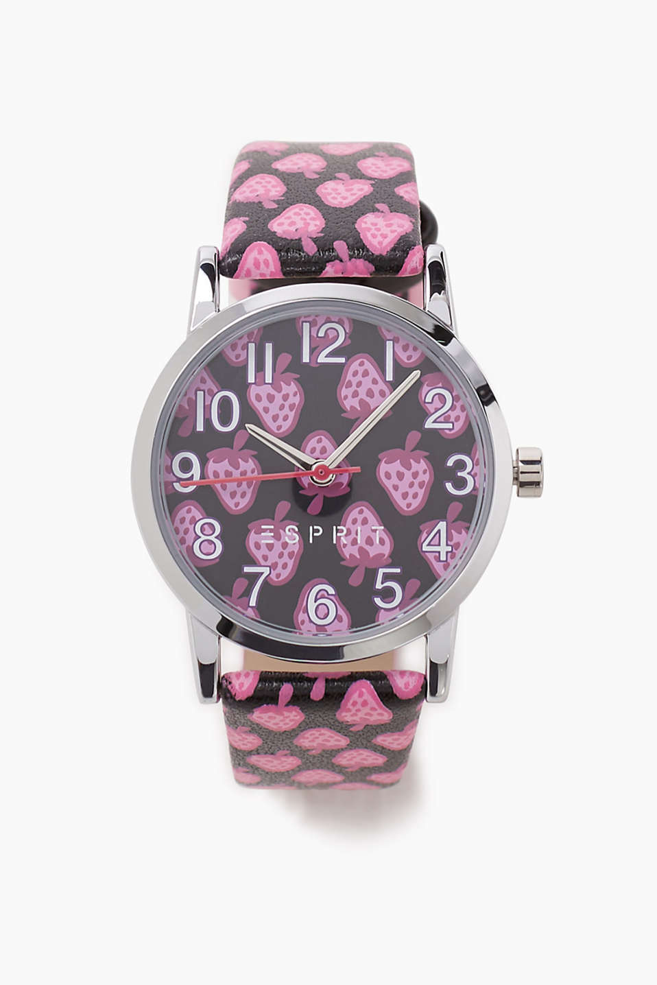 Girls just love pink! Kids watch with a strawberry design