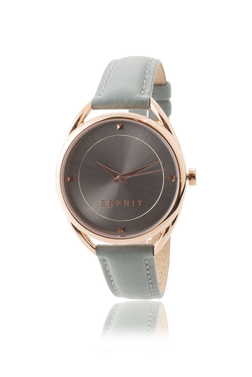 rose gold tone stainless steel watch case, grey leather strap and dial, Ø approx. 38 mm