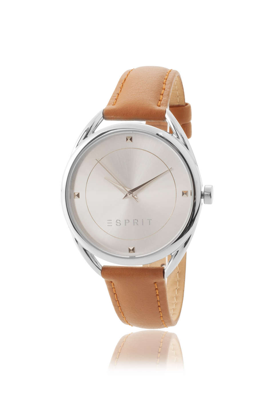 polished stainless steel watch case, light brown strap, pale dial, Ø approx. 38 mm