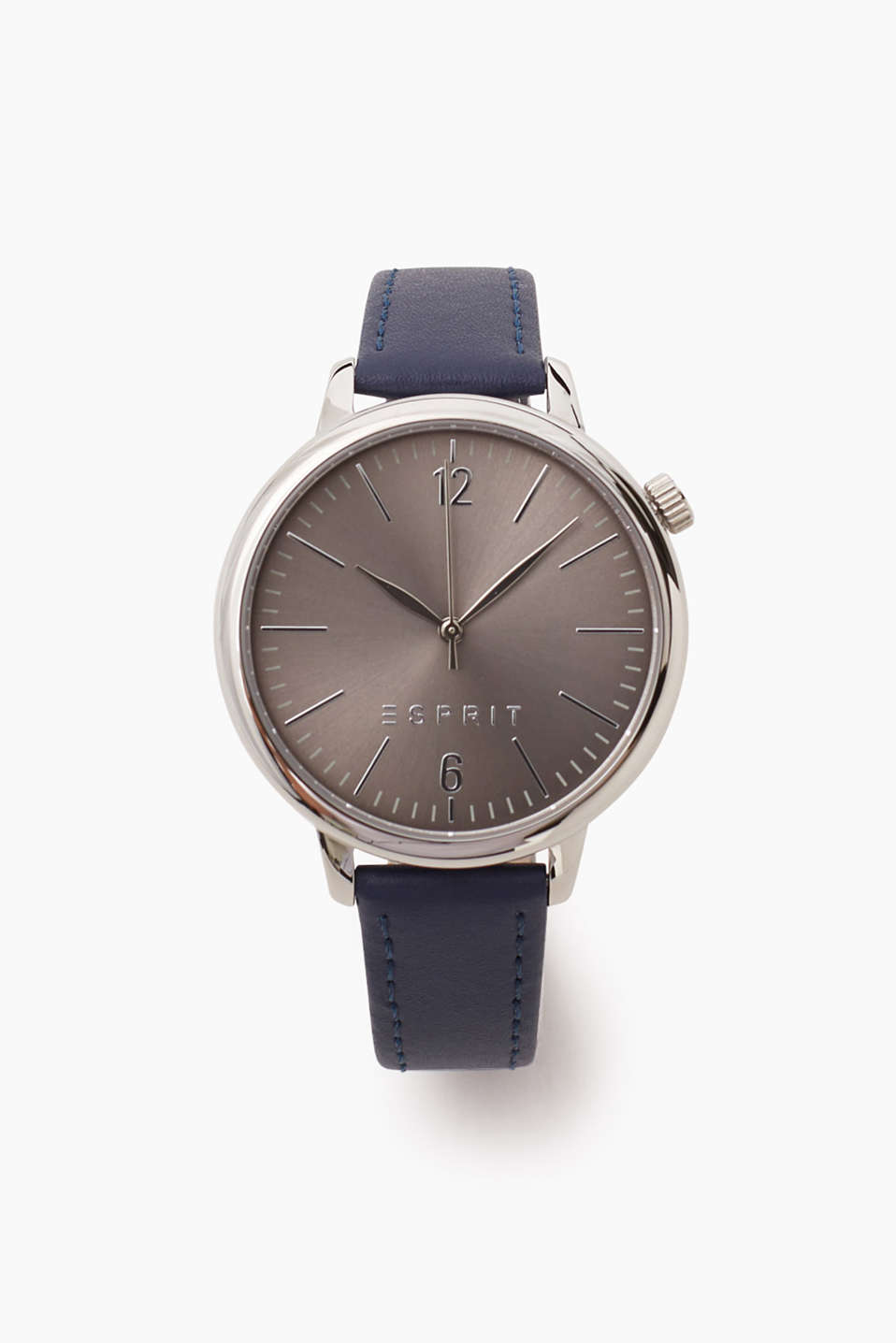 Polished stainless steel watch with a blue leather strap, Ø approx. 38 mm