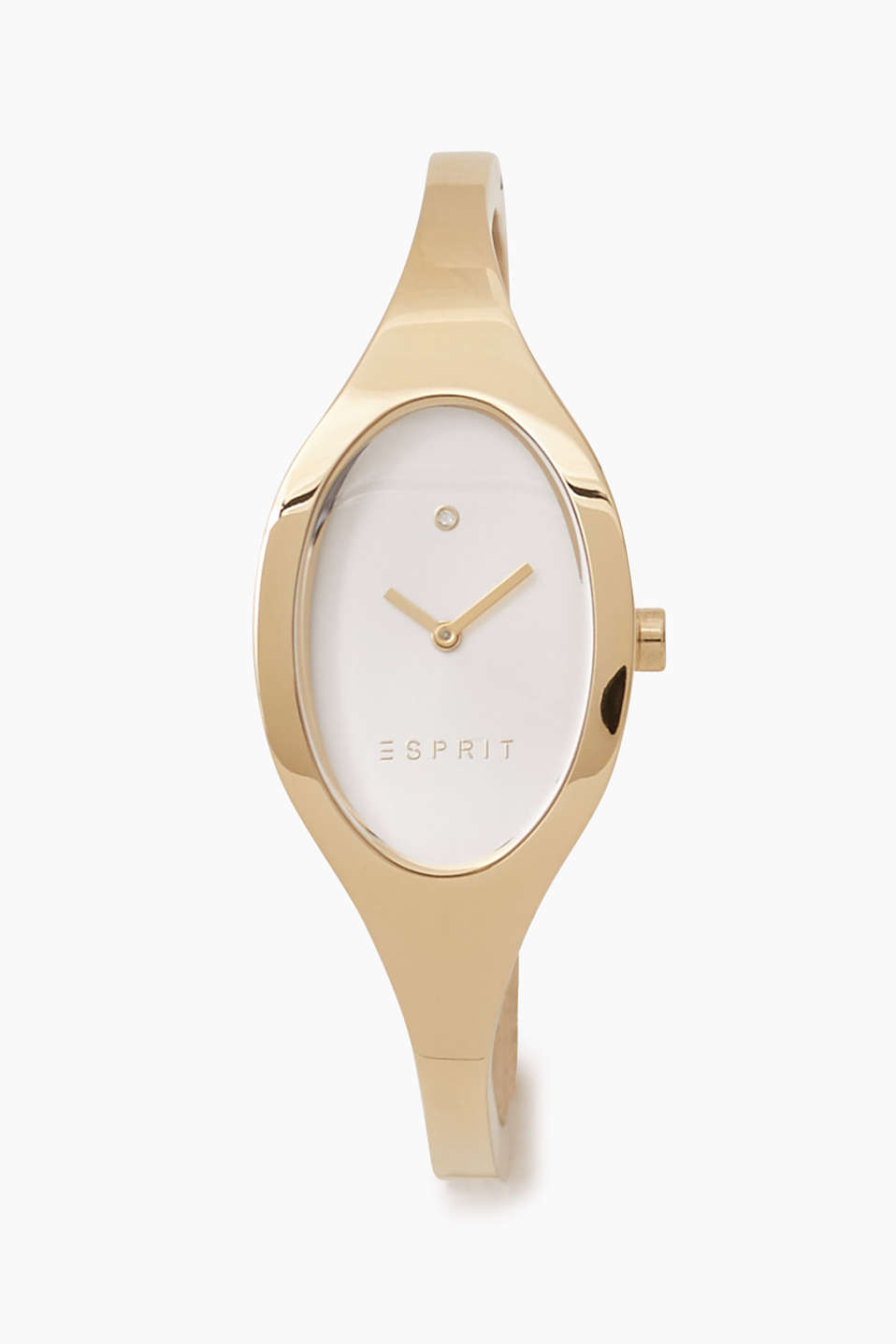 We love yellow gold: bangle-style bracelet watch with an oval face