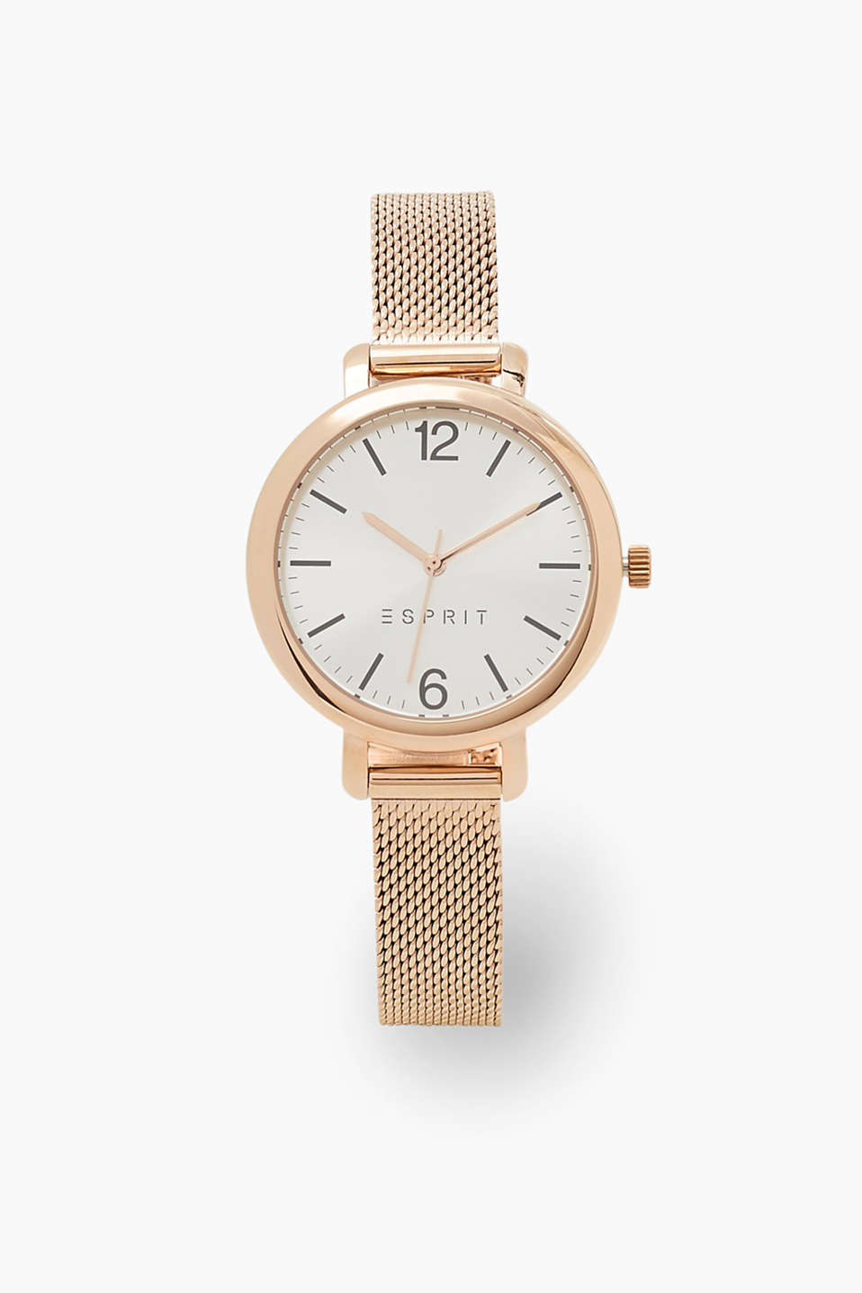 Watch in a trendy rose gold tone and a timeless, minimalist design