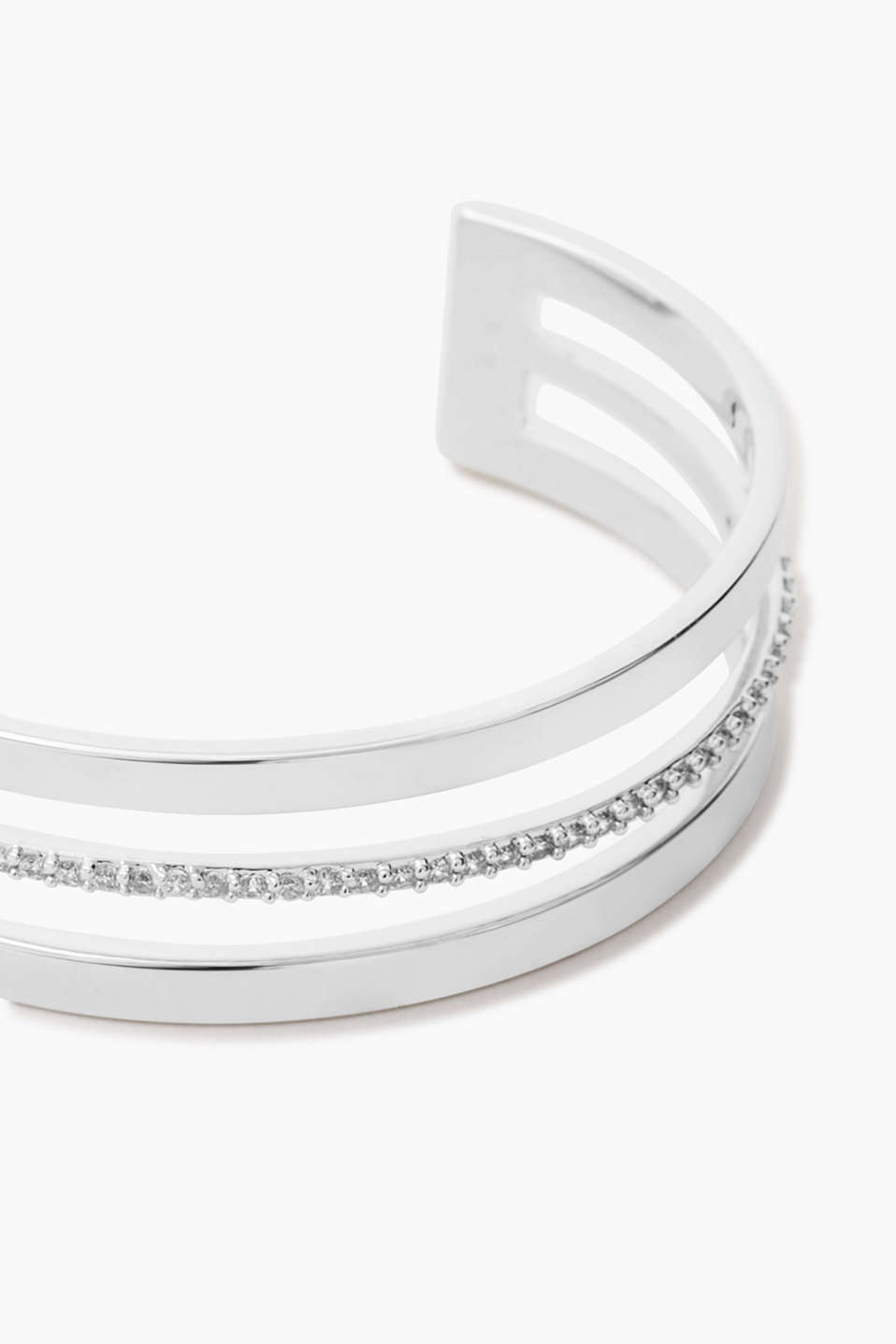 Open bangle with a white stone trim, approx. 18 mm wide