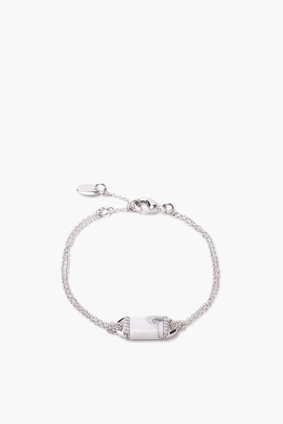 Fine link bracelet made of a high-quality metal alloy with a trendy, marble-effect charm