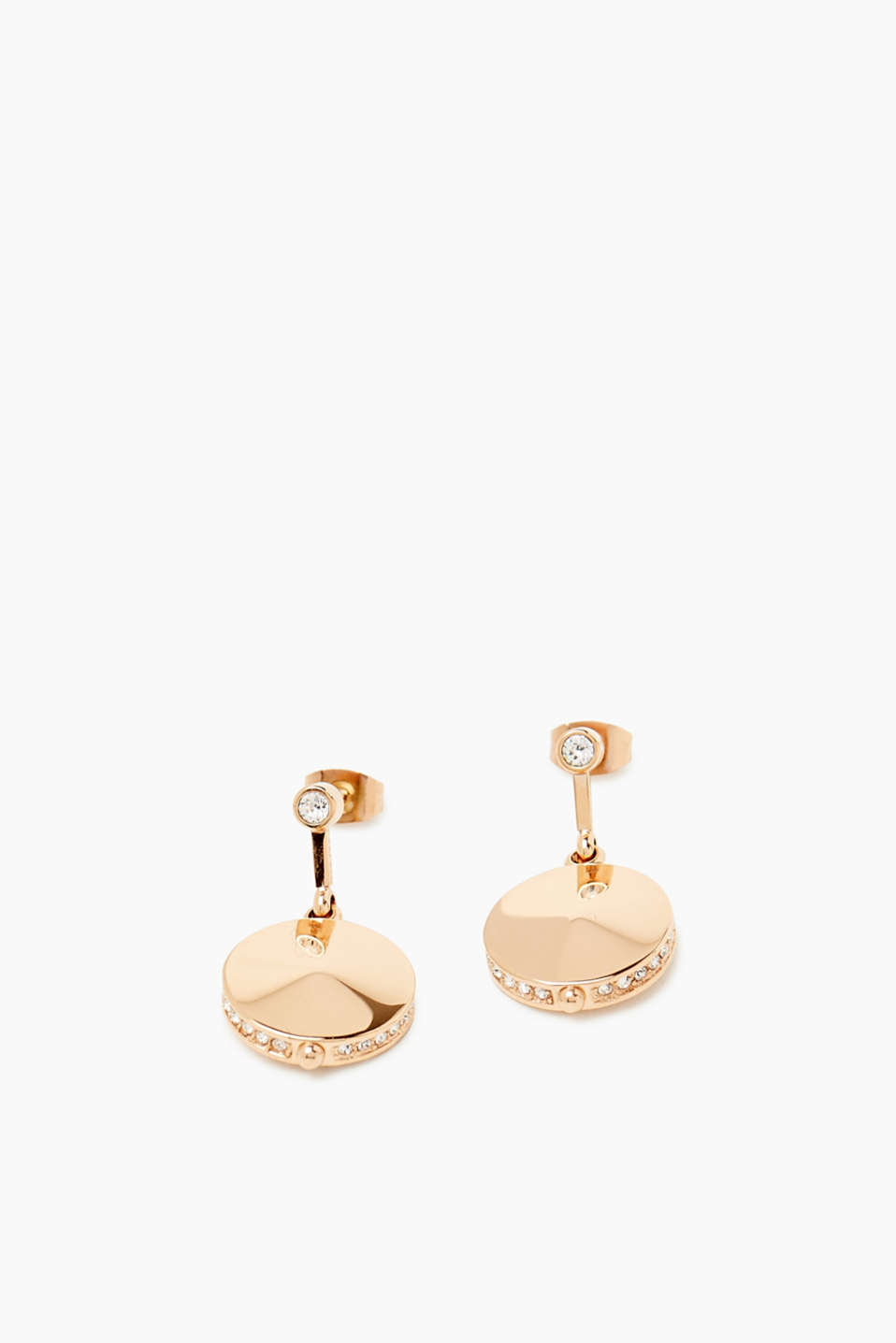 Elegant and everyday! These earrings with zirconia trimmed pendants are an elegant accessory.