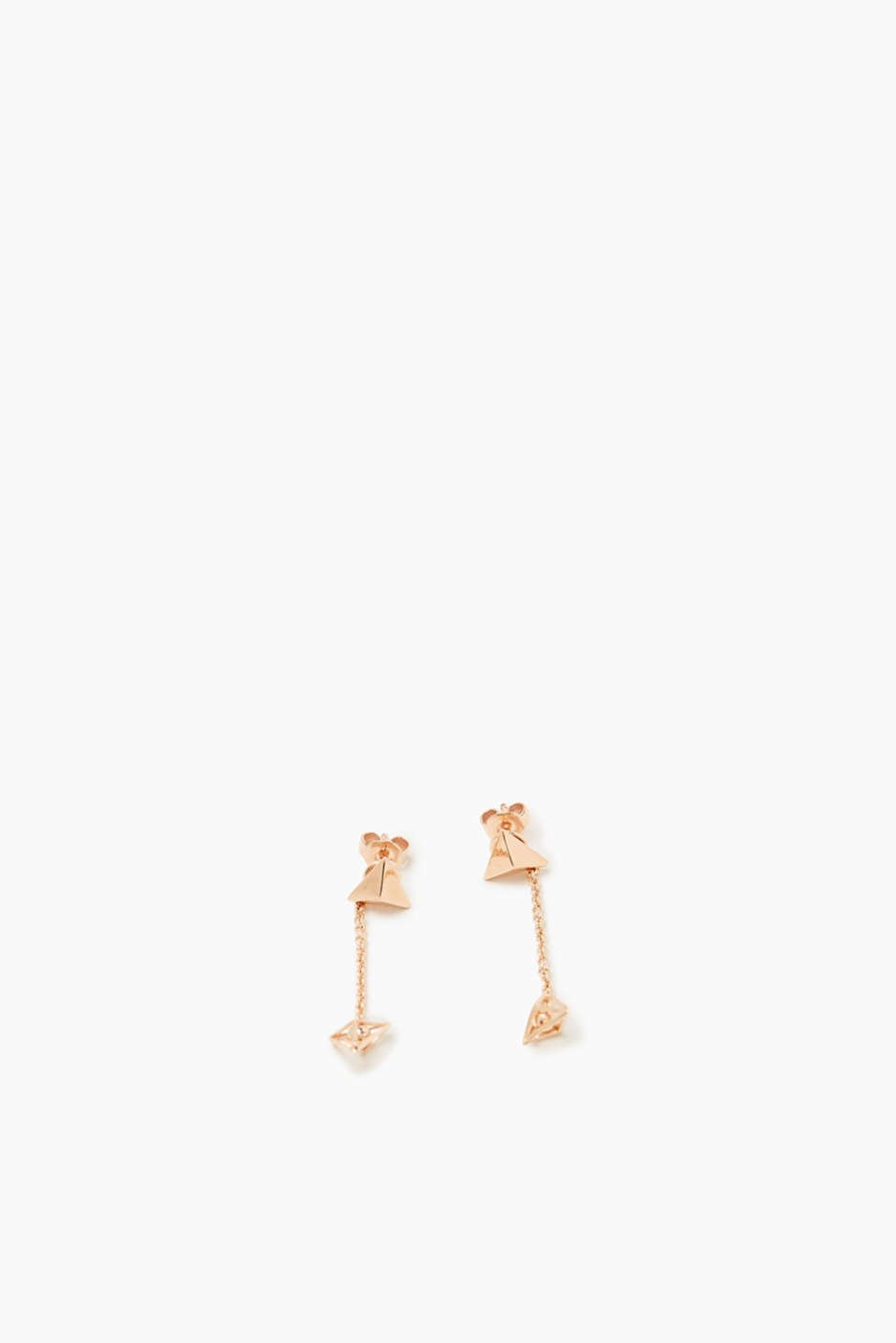 We love rose gold! These fine, modern earrings are finished in sterling silver.