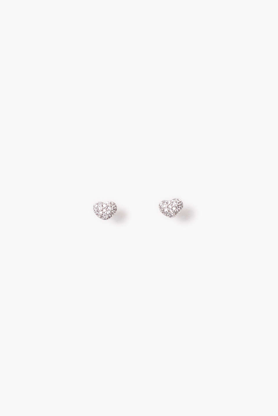 Small heart earrings set with zirconia, stud design