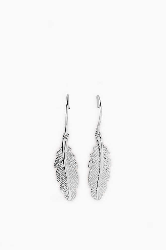 Esprit / Earrings with a feather pendant
