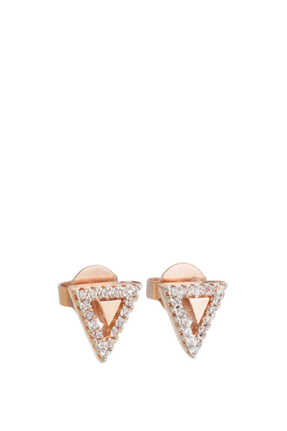 Triangular stud earrings with rose gold plating and white stones, width approx. 8 and 10 mm