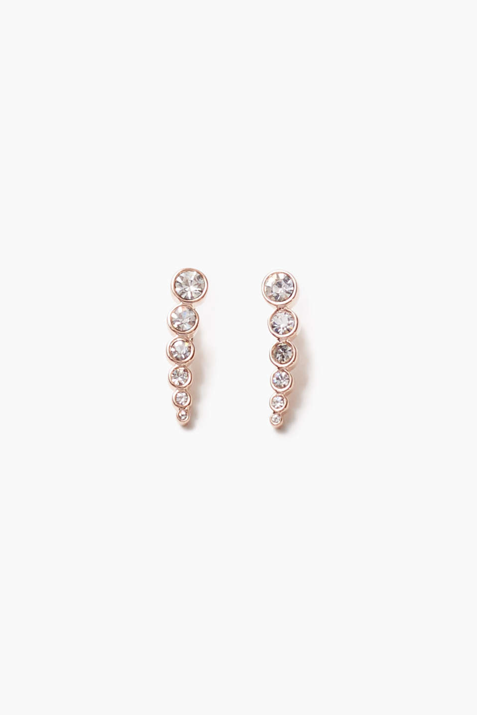 Worn running up the ear: Ear climbers set with rose gold plating and shimmering zirconia, length approx. 20 mm