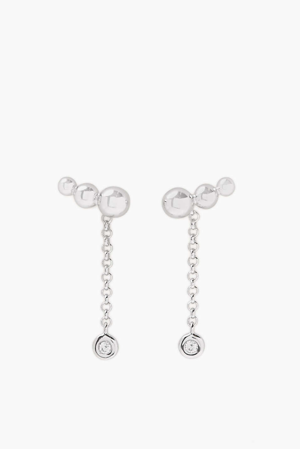 Earclimbers in sterling silver with fine pendants and single zirconia stones