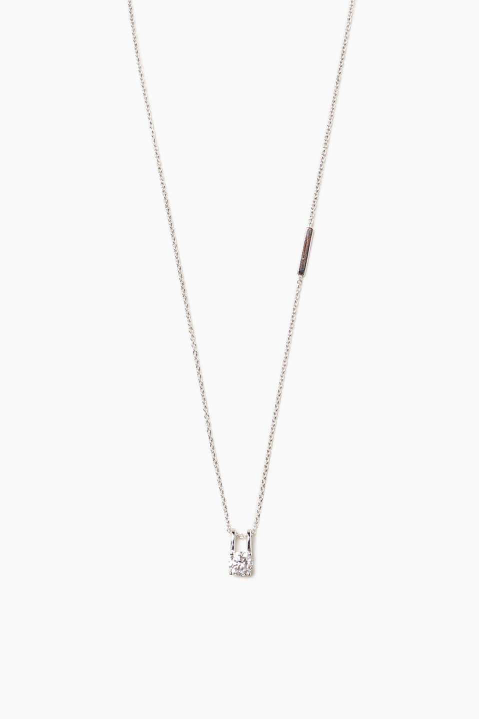 Timeless elegance! This fine necklace impresses with its single, set zirconia pendant.