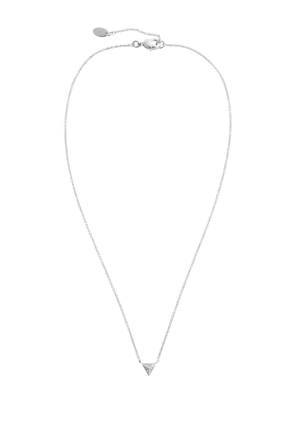 Link chain with a pyramid-shaped pendant trimmed with zirconia