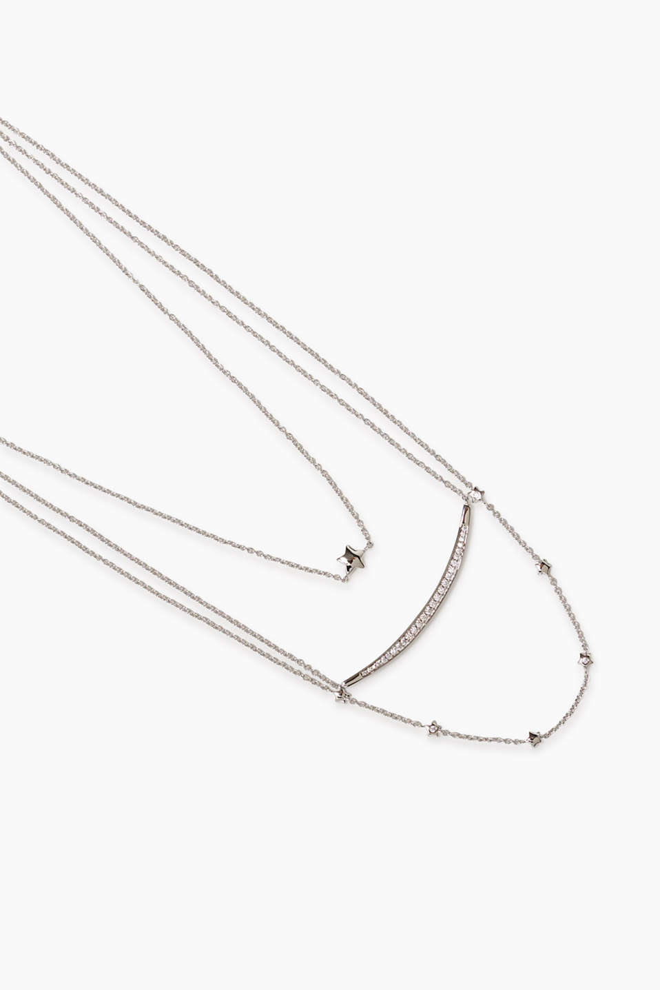 Three-in-one necklace with various pendants and zirconia settings, can be worn as a trio, duo or alone