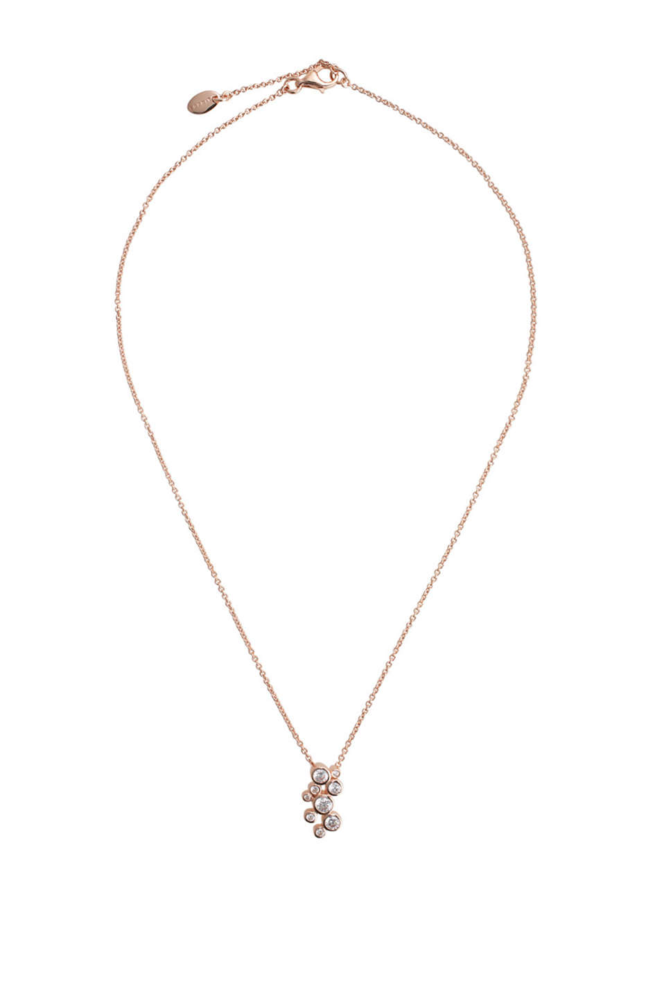 ES Symphony Rose: rose gold plated necklace with round pendants set with sparkling stones, approx. 420 mm long