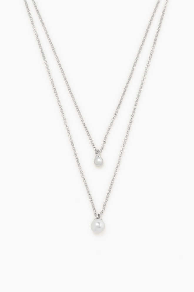 Esprit / Double strand silver necklace + beads