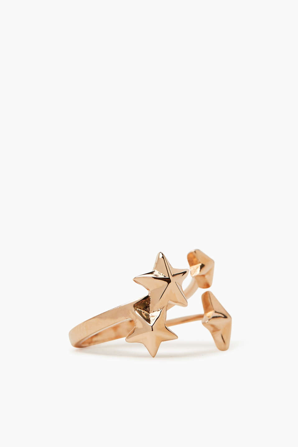 Cool deco, trendy rose gold: open ring with a decorative star made of sterling silver