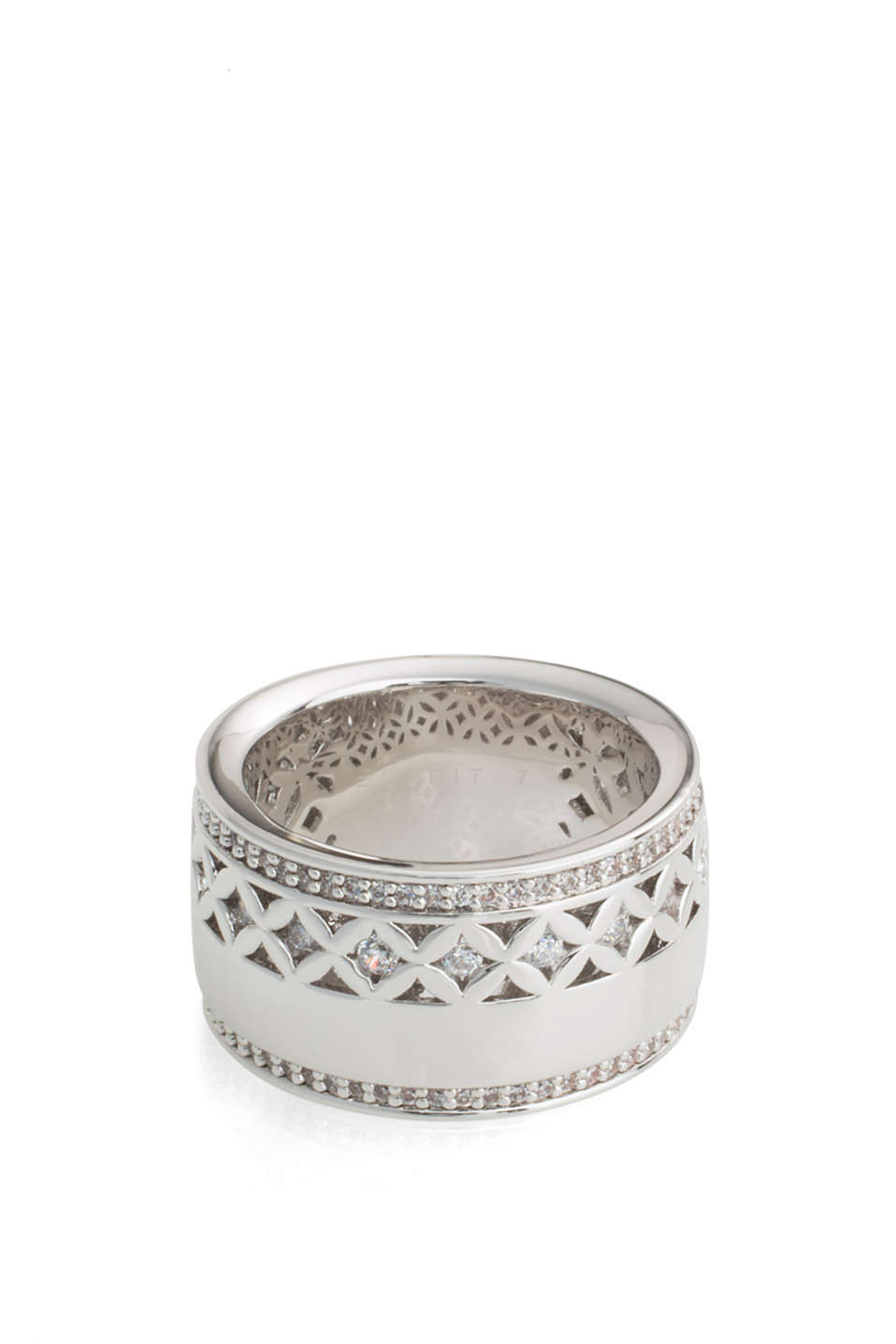 Metal ring with ornamental diamonds and white stones, width approx. 12 mm