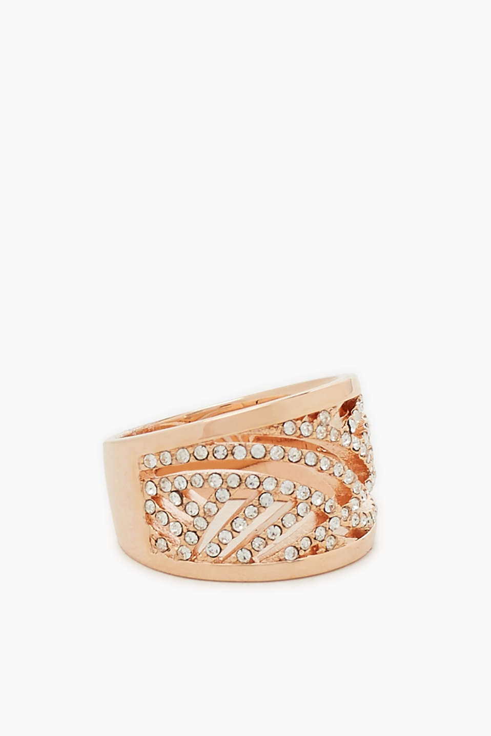 Ring made of a high-quality metal alloy with 18-carat rose gold plating set with sparkling zirconia