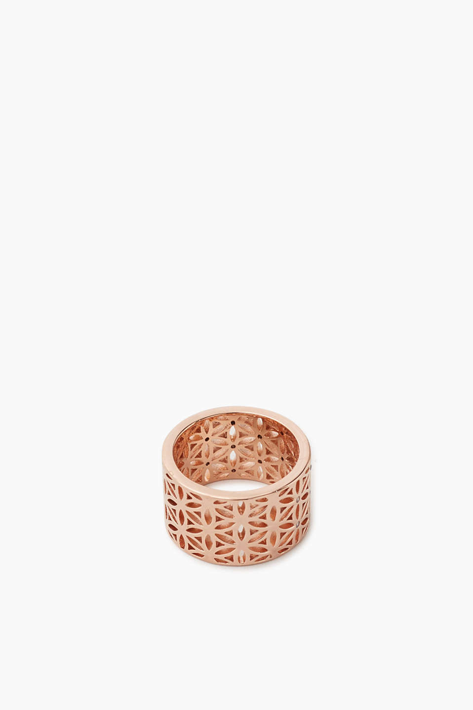 Metal ring with rose gold plating, flower ornament and white stone, width approx. 13 mm
