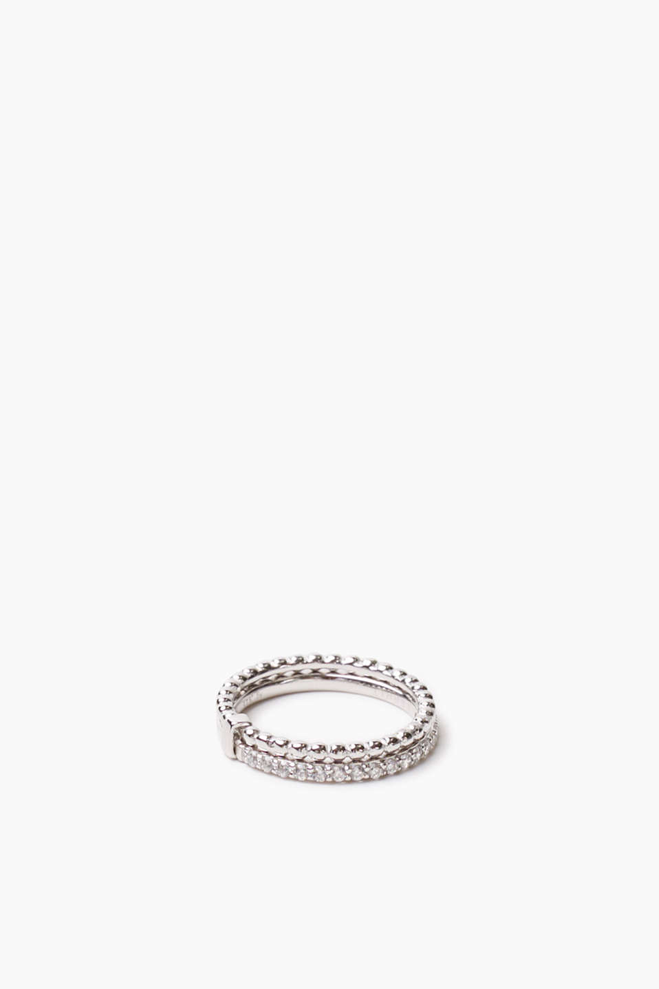 Sterling silver ring made of two narrow bands with different designs and zirconia trim, width approx. 4 mm