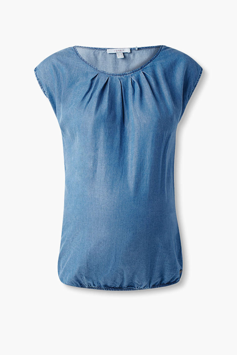 with a pleated neckline and an elasticated hem