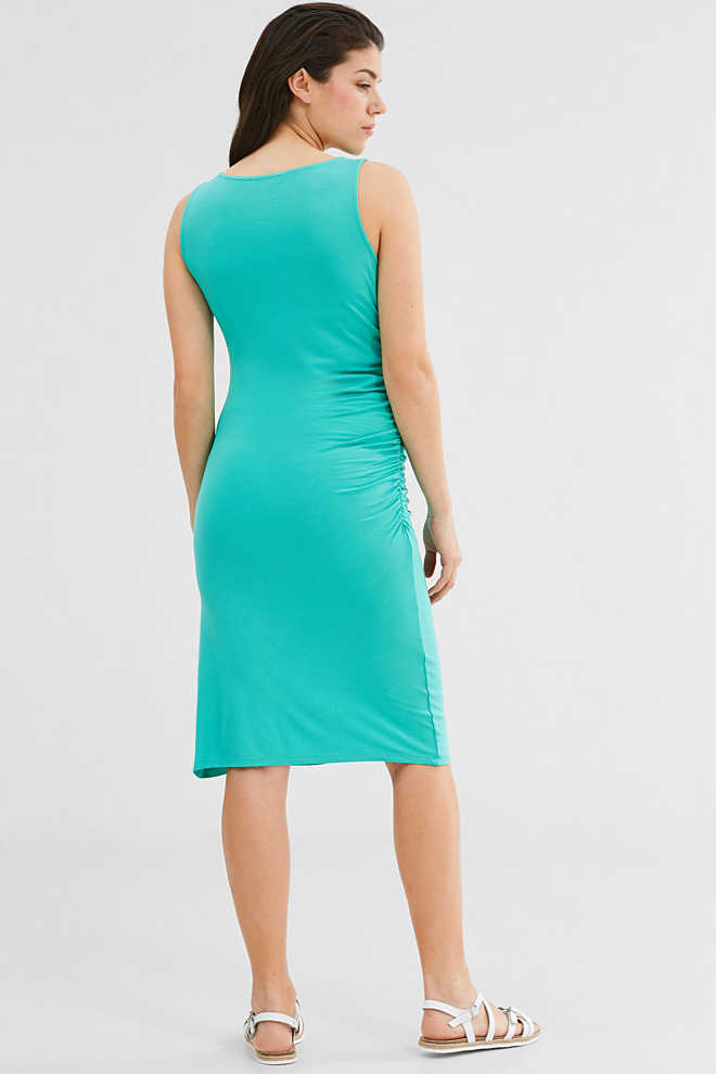 Esprit / Stretch jersey dress with side gathers