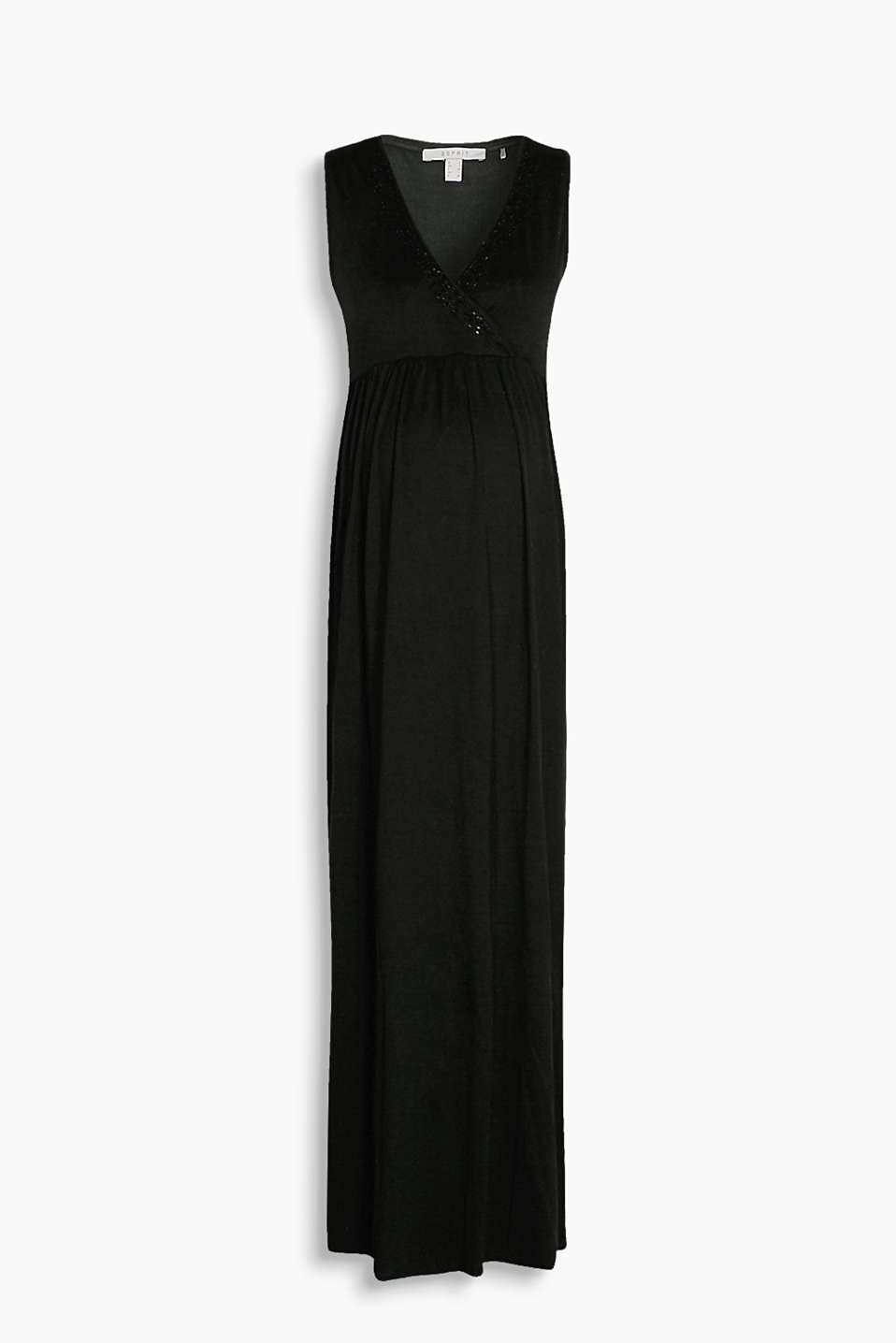 Softly draped jersey dress with a sequin neckline and a wrap-over effect